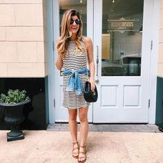 striped swing dress + chambray shirt