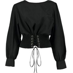 Boohoo Olivia Corset Detail Blouse MXN) ❤ l. Kimono Blouse, Crop Blouse, Crop Shirt, Jersey Shirt, Edgy Outfits, Mode Outfits, Fashion Outfits, Cami Crop Top, Crop Tops