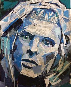 """Bowie"" paper on canvas 16x20"" . . . . . #artforsale #collages #cutomart #collageportraits #decopage #magazinecollage #magazinecollageart…"