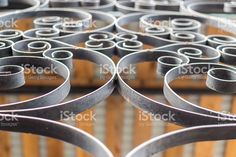 Closeup Details of a Black Wrought Iron Fence royalty-free stock photo