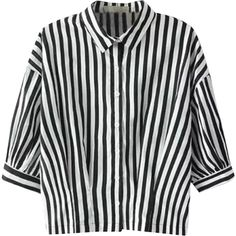 Relaxfeel Women's Black And White Middle Sleeve Collar Striped Shirt ($18) ❤ liked on Polyvore featuring tops, black, black top, collared shirt, black shirt, striped shirt and black white top
