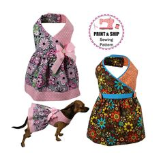 PRINTED Sewing Pattern, Roxanne Dog Dress Sewing Pattern and Tutorial -XXSMALL & XSMALL by FourSeasonsPattern on Etsy https://www.etsy.com/uk/listing/502532709/printed-sewing-pattern-roxanne-dog-dress