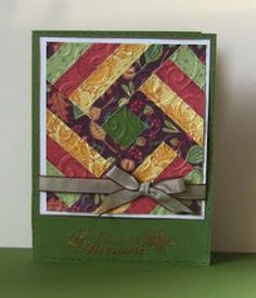 DONT LOVE THE GREEN CARD BASE BUT LIKE THIS PATTERN AND FALL COLORS-Quilt Card