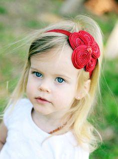 Red Flower Headband, Posh Red Beaded Satin Flower Red Headband or Hair Clip, Valentine's Day Headband, Baby Toddler Child Girls Headband. $9.95, via Etsy.