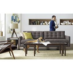 love this mid-century sofa // Petrie Sofa  | Crate and Barrel