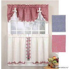 Tabitha Navy Blue / Beige Gingham Tie Up Valance Final Sale Curtains And Draperies, Home Curtains, Country Curtains, Kitchen Curtains, Window Curtains, Bay Window, Curtain Patterns, Curtain Designs, Curtain Ideas