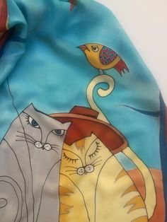 Hand Painted Silk Scarf,Cats on the Beach Silk Scarf