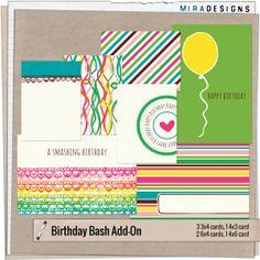 Quality DigiScrap Freebies: Birthday Bash journal cards freebie from Mira Designs
