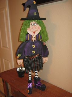 Witch Wilma Wood Decoration by Gourdsandgifts on Etsy
