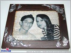 Marco decorado con estaño por Nati. #manualidades #pinacam #estaño #aluminio                                  www.manualidadespinacam.com