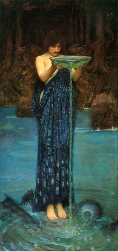 Circe by John William Waterhouse. Divination through the art of water scrying.