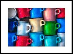 'Old Cups For Sale' Framed Print by Brenda Bryant ~ Inspiration for this unique painting came from an old box of cups in a flea market. Most of the cups are vintage Fiesta® Dinnerware | Fine Art America