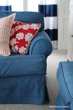 Tough and washable, 14 oz. washed indigo denim makes the best cottage slipcovers.