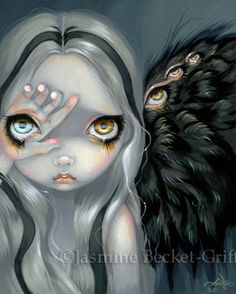 Divine Hand surreal angel fairy fantasy big eye by strangeling, $13.99
