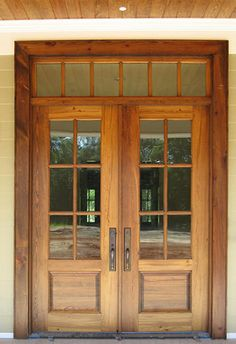 Craftsman Exterior Wood Entry Door need solid wood doors though Craftsman Door, Craftsman Exterior, Craftsman Style, Wood Entry Doors, Door Entry, Entryway, Double Doors Exterior, Wood Double Front Doors, Wood French Doors Exterior