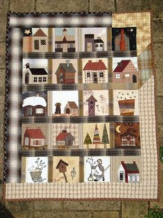 House Quilt...I want to make my very own house quilt...love the idea of making one square at a time of cute houses, light houses, sandcastles, birdhouses, castles etc.