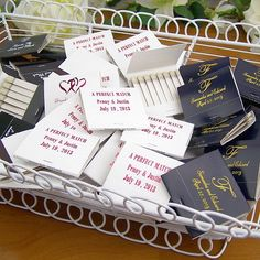 Light up your wedding reception with personalized 30 strike matchbooks personalized with choice of design and up to 3 lines of custom print. Personalized matches make useful favors perfect for placing in a bowl at the reception bar or next to votive candle favors on the wedding guest tables. Pass out printed matchbooks at your bachelor and bachelorette party as useful party souvenirs. These matches can be ordered at http://myweddingreceptionideas.com/30_strike_matchbook_wedding_favors.asp