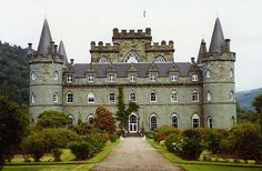 "Inverary Castle - seat of the Chief of Clan Campbell, the Duke of Argyll. The original castle was built in the 1400's but the current structure was built in the 1700's. The interior of the castle is quite elaborate & includes a State Dining Room with the only surviving work of French painters Girard & Guinard... & the Armoury Hall displays weapons dating from 1740. It is believed to be haunted by the ""ghost of a harpist who was hanged in 1644 for peeping at the lady of the house."""