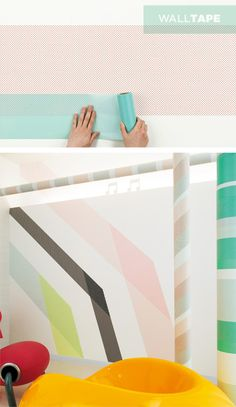 Wall tape.....colors and patterns available.  Can layer, cut, get multiple colors....easily create stripes and unique walls the easy way