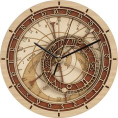 Prague Astronomical Clock in Wood  Silent movement  by Woodentek on Etsy