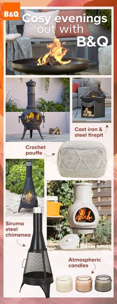 From chimineas to firepits, B&Q's range of outdoor heating allows you to enjoy your garden even after the sun goes down. With added throws, cushions and candles, keep the evenings cosy this summer whilst relaxing in your outdoor space.