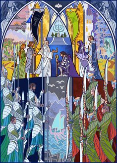 Artist Jian Guo has taken passages, characters and scenes from the Lord of the Rings and Hobbit books by JRR Tolkien and created beautiful digital stained glass works of art. Aragorn, Legolas, Gandalf, Speak Friend And Enter, Film Manga, O Hobbit, J. R. R. Tolkien, Into The West, Fan Art