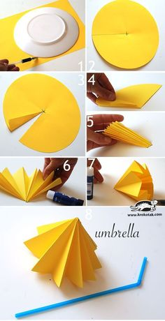How to Make Paper Umbrellas – Easy Peasy and Fun Easy Arts And Crafts, Diy Crafts For Kids, Art For Kids, Kids Diy, Paper Crafts Origami, Origami Easy, Autumn Crafts, Summer Crafts, Pinterest Crafts For Kids