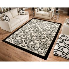 Shop for Area Rugs Rugs in Decor. Buy products such as Better Homes & Gardens Iron Fleur Area Rug or Runner at Walmart and save. Inexpensive Rugs, 8x10 Area Rugs, White Damask, White Rug, My Living Room, Better Homes And Gardens, New Room, Home Accents, Bedroom Decor