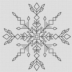 Beautiful Blackwork snowflake - would look lovely in silver or gold yarn. Kasuti Embroidery, Cross Stitch Embroidery, Embroidery Patterns, Graph Paper Drawings, Graph Paper Art, Blackwork Cross Stitch, Cross Stitching, Cross Stitch Designs, Cross Stitch Patterns