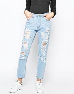 Good Vibes, Bad Daze   Good Vibes Bad Daze Ripped High Waisted Slim Jeans at ASOS