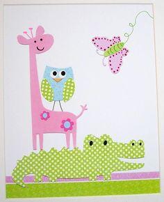 Kids Wall Art, Baby Girl Room Decor, Kids Room Decor, Alligator, Owl, Giraffe, Pink, Blue, Allie and Company, 8x10 Print. $14.00, via Etsy.