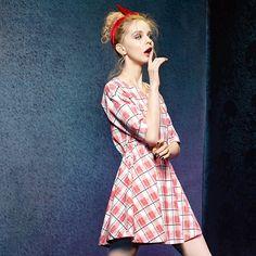 2016 spring plaid style short sleeves dress
