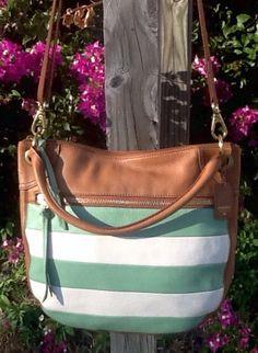 Fossil Stripe Messenger Tan Handbag Green White Stripe Front Convertible Carry in Clothing, Shoes & Accessories, Women's Handbags & Bags, Handbags & Purses | eBay