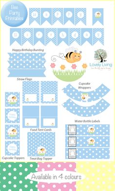 Free Bee Party Printable Collection - In 4 Colours - Lovely Living