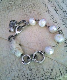 Handmade Rustic Organic Kasumi-type Pearl Sterling Silver Bracelet