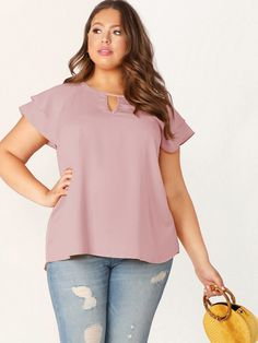 Plus Keyhole Front Layered Raglan Sleeve Top Ruffle Fabric, Loose Tops, Plus Size Blouses, Ruffle Sleeve, Types Of Sleeves, Sleeve Styles, Plus Size Outfits, Cap Sleeves, Plus Size Fashion