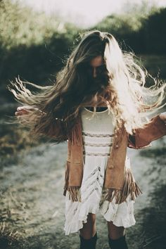 Boho chic white mini dress, modern hippie suede fringe jacket for a carefree gypsy style. For the BEST Bohemian jewelry & fashion trends FOLLOW http://www.pinterest.com/happygolicky/the-best-boho-chic-fashion-bohemian-jewelry-gypsy-/