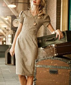 Another great find on #zulily! Beige Conductor Wool-Blend Dress by Shabby Apple #zulilyfinds