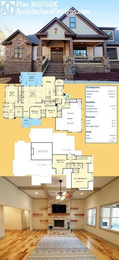Introducing Architectural Designs House Plan 36076DK! It gives you 3 beds on the main floor and an open floor plan. And there is expansion space upstairs giving you the potential to get 5 beds total. Ready when you are. Where do YOU want to build?