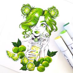This lovely illustration by is just what we needed on this rainy day! It is still summer, right? Created using Graphit brushmarkers in Septembers Girly Drawings, Cool Art Drawings, Colorful Drawings, Pretty Art, Cute Art, Copic Marker Drawings, Drawing With Markers, Copic Markers, Copic Art