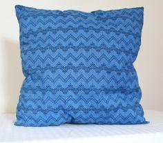 Blue and Black Chevron Throw Cushion, 38x38cm by Seekaboo on Etsy