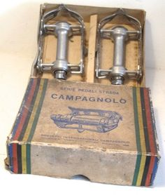 "nice pedals, great box (rare ""IN BOX"" 70's Campagnolo Record pedals)"