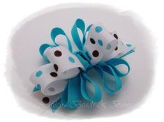 children's hair bows | Hair Bow-loopy funky hair bows, polka dots hair bow, turquoise hair ...