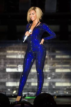 Loving Bey's bob.. The sparkly blue jumpsuit was my favorite of her outfits from her Mrs Carter World Tour