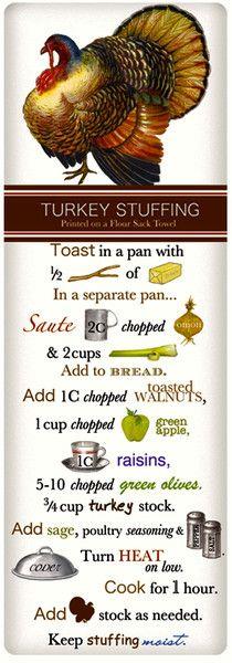 Turkey Stuffing Recipe (on a Cotton Flour Sack Dish Towel Tea Towel) Thanksgiving Recipes, Fall Recipes, Holiday Recipes, Holiday Ideas, Turkey Stuffing Recipes, Dish Towels, Tea Towels, Vintage Recipes, Food Dishes
