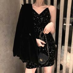 Women's Lovely Dresses Chic Ins Kawaii Sleeveless V neck Velvet Harness Dress Girl Sweet Korean Punk Clothes For Women Female Korean Girl Fashion, Ulzzang Fashion, Kpop Fashion Outfits, Edgy Outfits, Mode Outfits, Pretty Outfits, Fashion Dresses, Sparkly Outfits, Miami Outfits