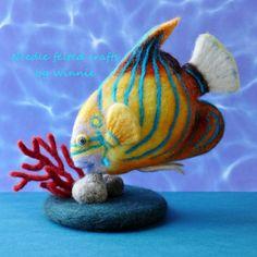Blau beringten Angelfish Nadel Filz Fische handgefertigte wolle Kunst Unikate