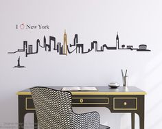 New York City Skyline Wall Decal by Zapoart on Etsy, $54.00
