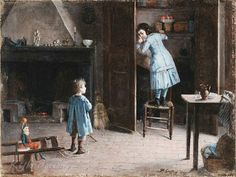Henry Jules Jean Geoffroy (French, 1853 - 1924) «Children in an interior»