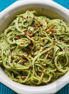 Zucchini Spaghetti with Walnut Pesto (Raw, GF)